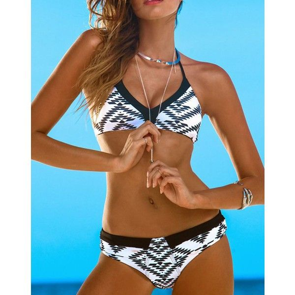 Black & White Bohemian Halter Triangle Top Bikini Set ($22) ❤ liked on Polyvore featuring swimwear, bikinis, black and white triangle bikini, halter triangle bikini, underwire bra, bikini swimwear and halter tops