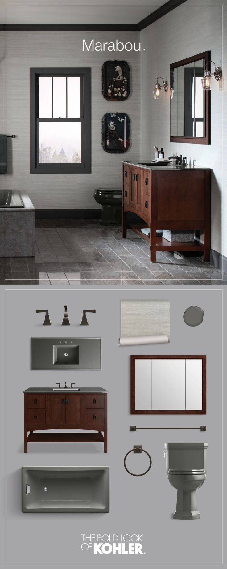 Gallery For Website Get the look Traditional bathroom featuring Kohler Marabou vanity