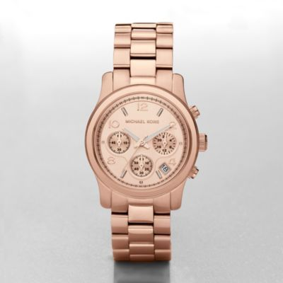 Runway Midsized Rose Chronograph Watch Sporty and chic, this rose gold-tone stainless steel Michael Kors watch is a crowd pleaser.Click to View Our Michael Kors 2-Year Warranty