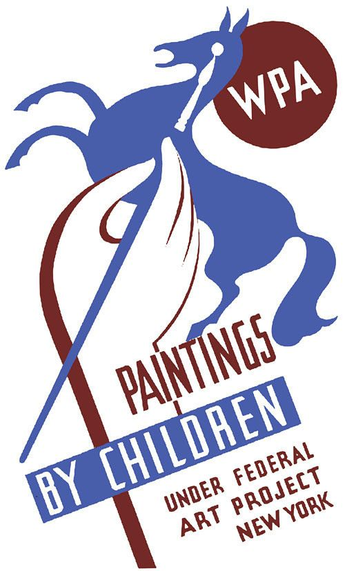 WPA Paintings by Children. This poster was created by the New York Federal Art Project, between 1936 and 1941. The poster was used for a Federal Art Project exhibition of childrens' paintings. The pos