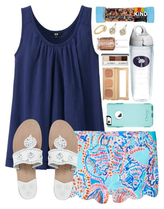 """""""Who says we have to grow up? ~ Walt Disney"""" by chevron-elephants ❤ liked on Polyvore featuring Uniqlo, Lilly Pulitzer, Jack Rogers, OtterBox, Tervis, Bare Escentuals, Erickson Beamon, Essie, Clinique and Michael Kors"""