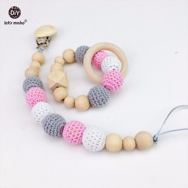 Let's Make Baby Pacifier Clip Wooden Teether Chewable Beads DIY Jewelry Accessories 2pcs/1lot Teething Dummy Clip Baby Teether