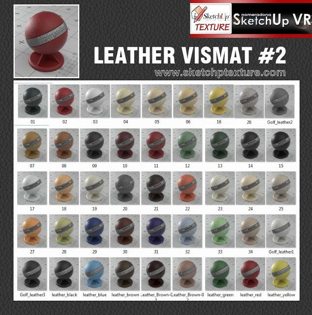 SKETCHUP TEXTURE: V-RAY VISMAT LEATHER TEXTURE COLLECTION#2