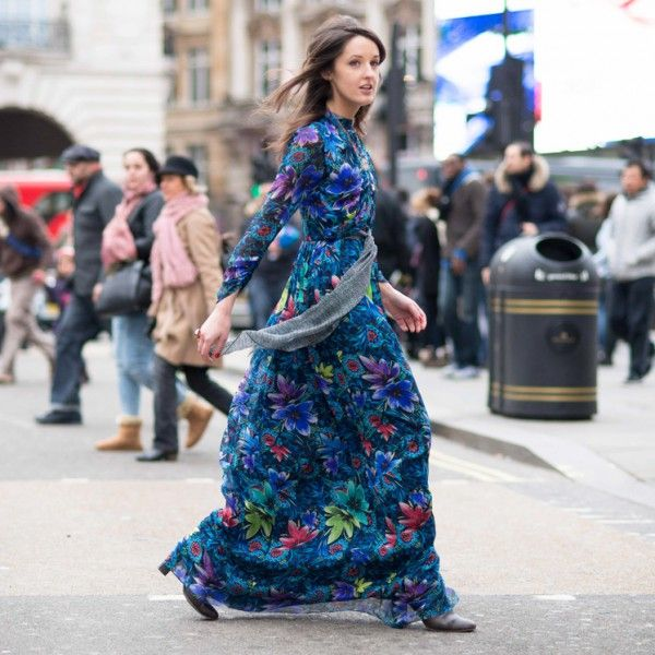 @rosannafalconer in Matthew Williamson's Pre Fall 2015 Jardin Chiffon Belted Wrap Gown. Click to see the story behind the print.