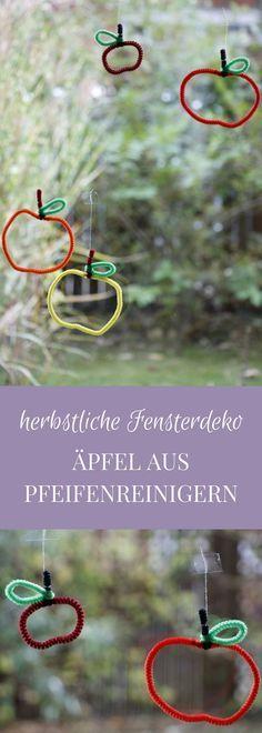 Geschenkanhänger oder herbstliche Fensterdekoration: Äpfel aus Pfeifenreinigern   – diy