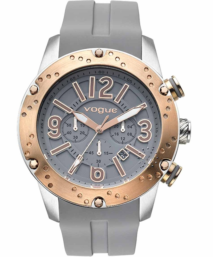 VOGUE Spirit Rose Gold Chrono Grey Rubber Strap  235€  Αγοράστε το εδώ: http://www.oroloi.gr/product_info.php?products_id=31629
