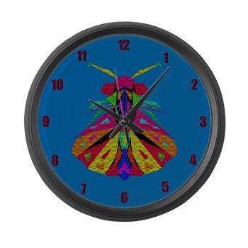 Mosaic Moth Clock Large Wall Clock