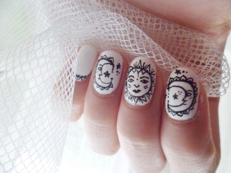 Sun and moon nails