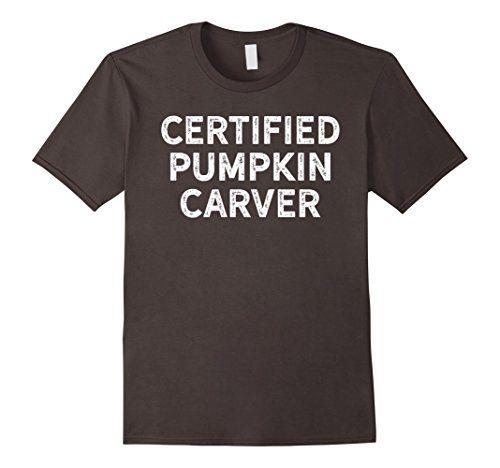 Mens Certified Pumpkin Carver Shirt for Halloween White 2...