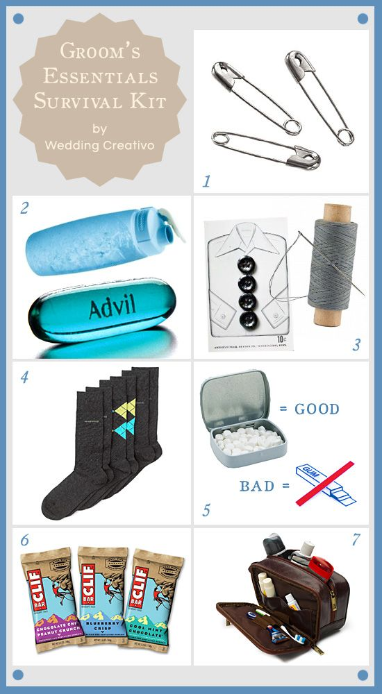 Grooms survival kit - a little help that every groom can use on their wedding day.