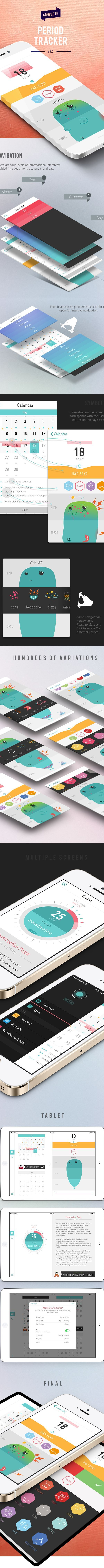 Ineteraction Design, UI/UX, Love the interactive elements of creating symptoms to the cute monster. It makes it fun for the user to create data instead of it being a chore. A visual way to show menstration symptoms.