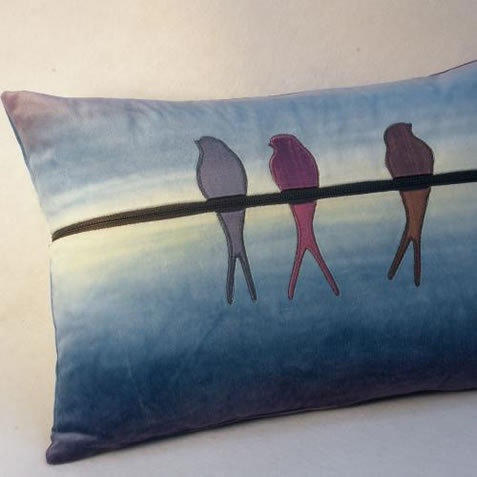Beautiful and calming cushion cover made with hand dyed cotton velvet and silk.  Only £48.00!