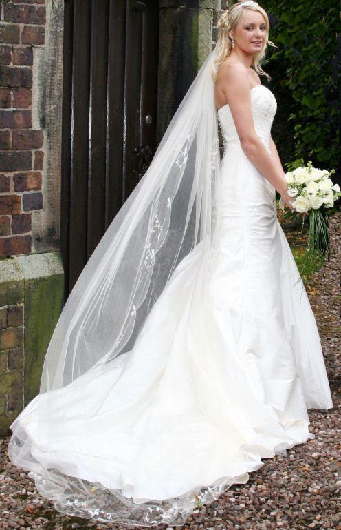 18 best images about bridal veil on pinterest oscar de for Long veil wedding dresses