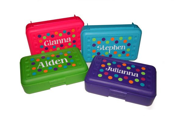 BACK TO SCHOOL - Personalized Pencil Box / Art Supply Box - Dots on Etsy, $5.25