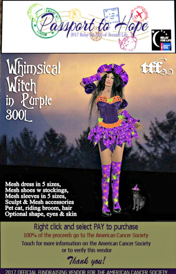 Tayren's Fantasy Fashions - Whimsical Witch in Purple  - Egregore sim - http://maps.secondlife.com/secondlife/Egregore/57/135/44