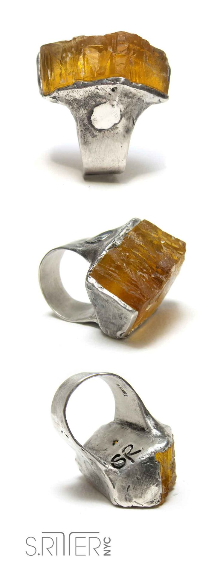 in homage to the bees and all that they bring to our being: raw yellow fluorite ring in sterling. buzzzzzzzz. || raw natural stone rings || elegant and raw statement rings || SRitterNYC.com