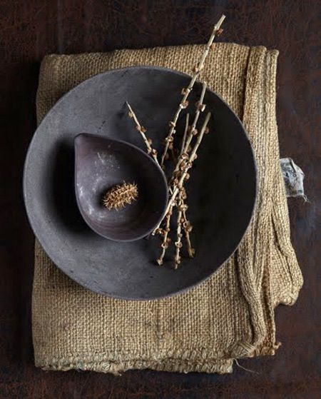 Rustic pottery for the table. Natural home decor. Charcoal gray and burlap.