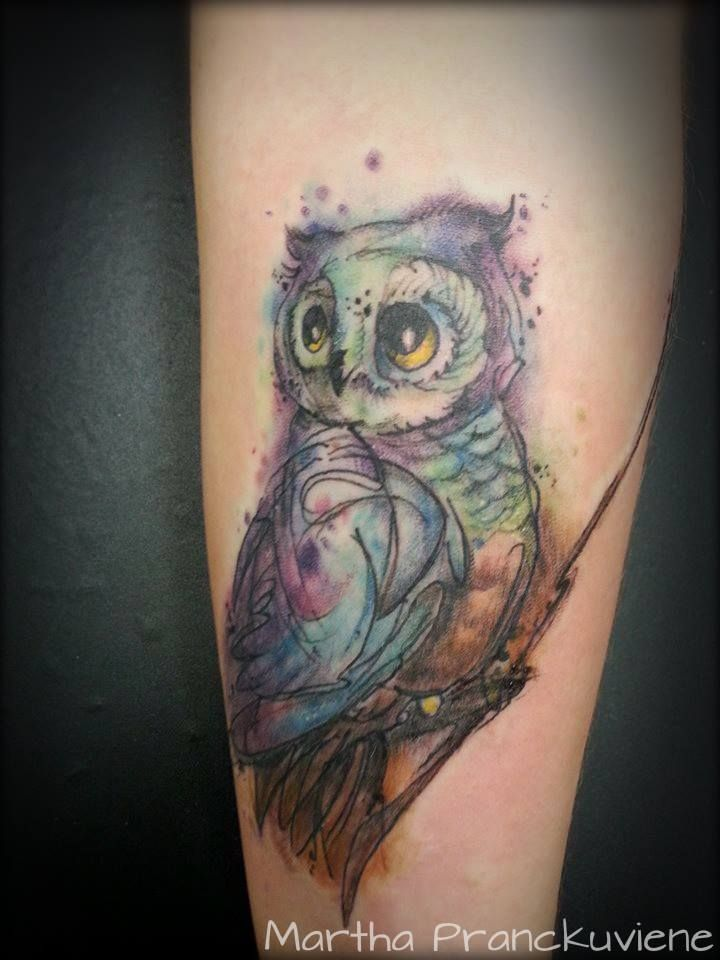 watercolor owl  Owl tattoo  watercolour owl tattoo