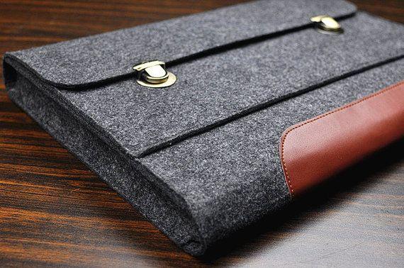 Leather laptop sleeve MacBook pro 17 caseFelt by FeltBagWorld