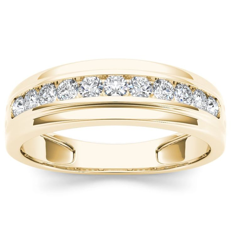 guys wedding rings de couer 10k yellow gold 1 2ct tdw men s wedding 4649