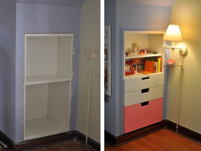 Drawers between wall studs | ... Hackers: Space-Saving STUVA Storage Closet and Shelf Inset Into Wall