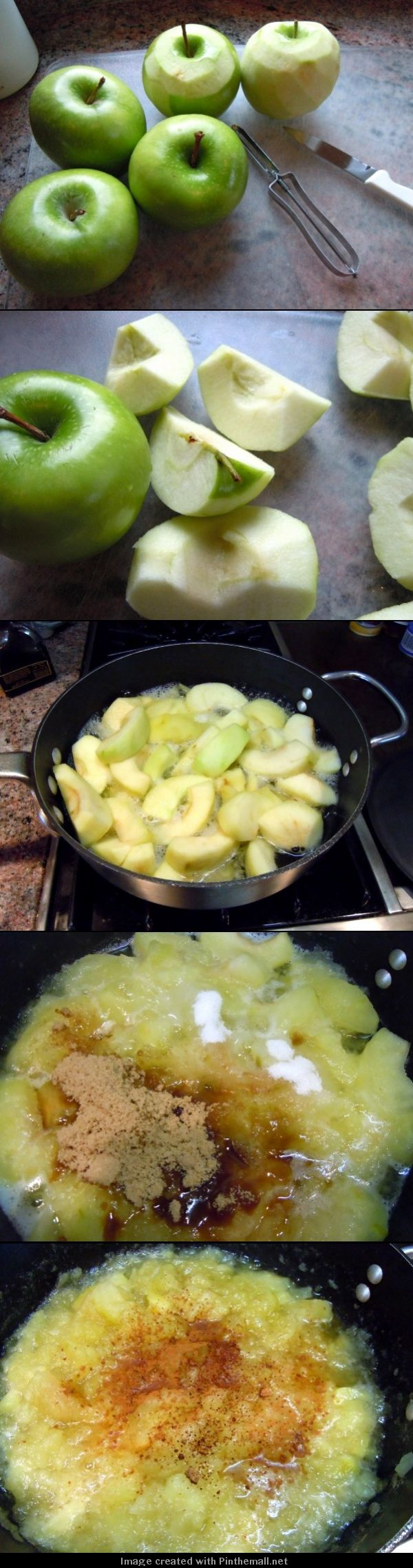 Homemade Apple Sauce Ingredients: 2 tablespoons butter 1 teaspoon cinnamon 4 McIntosh apples, cored, peeled, and chopped 1/2 teaspoon nutmeg 2 tablespoons water 1/4 cup sugar Directions: Combine all ingredients in a saucepan and cook over medium heat until apples become very tender, about 30 minutes. Applesauce may be left lumpy or mashed with a fork to become smoother.