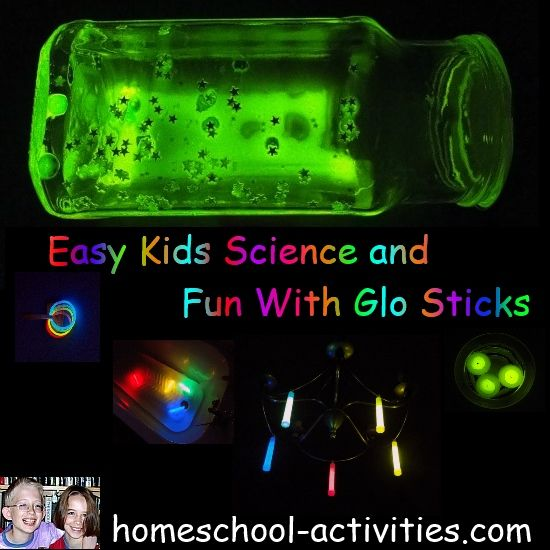 Cool science experiments for kids investigating bioluminescence but mainly having fun.  Free printable sheet of activities. www.homeschool-activities.com/cool-science-experiments.html