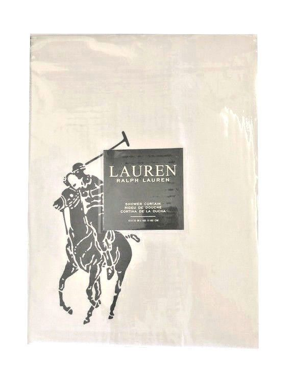 Ralph Lauren Shower Curtain Fabric Black Big Polo Pony New 72 X72