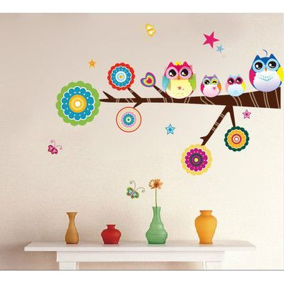 RetailSource Level Circled Branch of Owl Friends Wall Decal