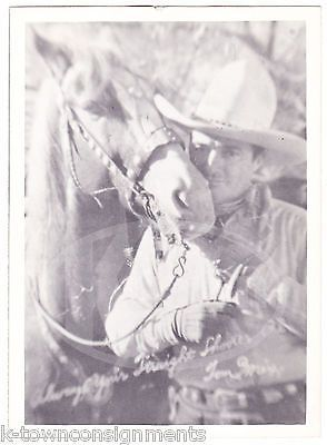 TOM MIX COWBOY ACTOR HORSE & WHITE COWBOY HAT VINTAGE STUDIO PROMO PHOTO