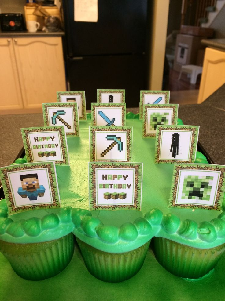 We loved these plain green cupcakes from Walmart. Cutouts from Minecraft and attached them with toothpicks. Turned out great!