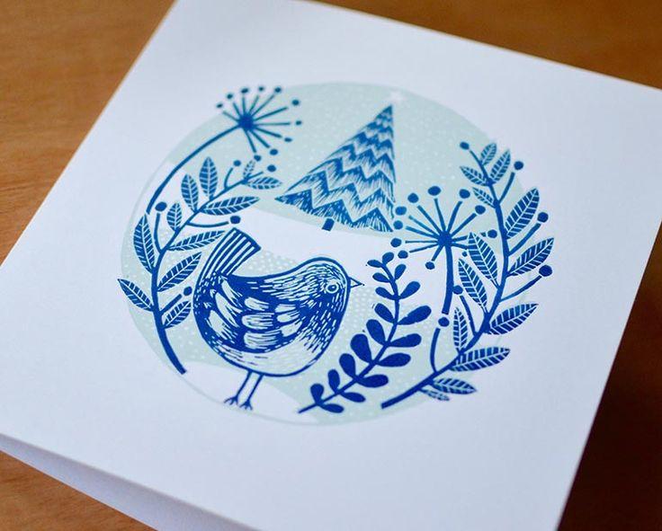 Christmas card linocut, Kester Hackney