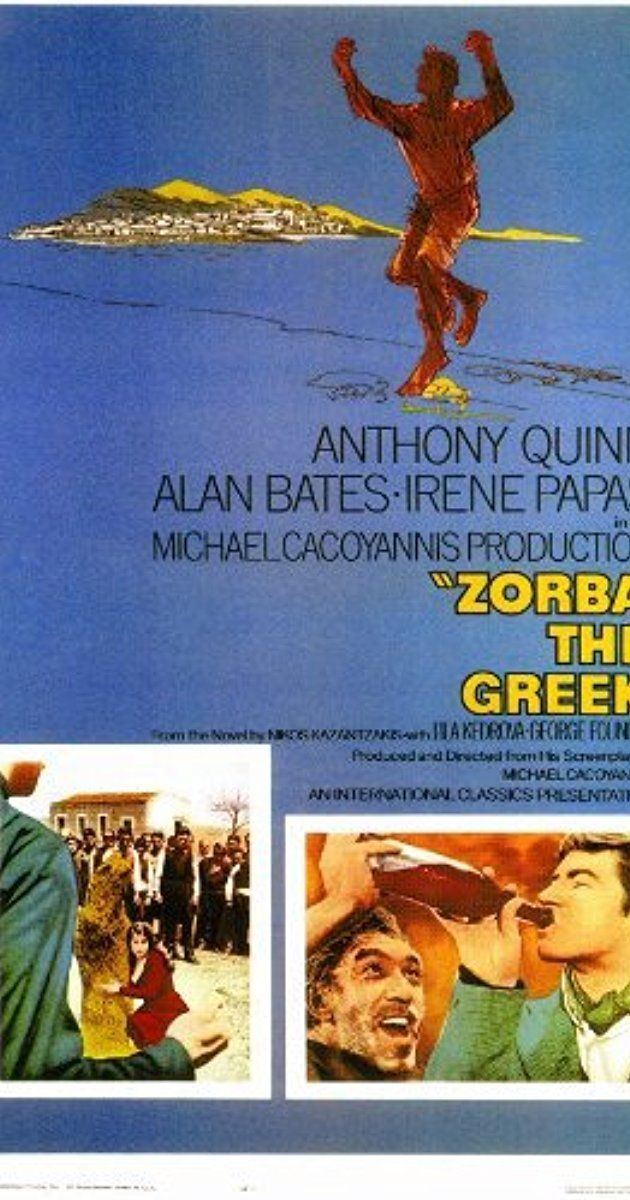 Directed by Mihalis Kakogiannis. With Anthony Quinn, Alan Bates, Irene Papas, Lila Kedrova. An uptight English writer traveling to Crete on a matter of business finds his life changed forever when he meets the gregarious Alexis Zorba.