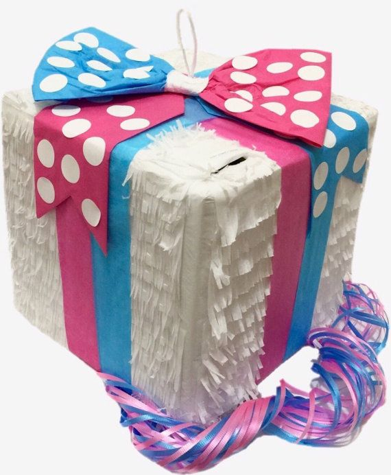 Gender Reveal Gift Box Pinata Pink & Blue Bow by Theperfectpinata