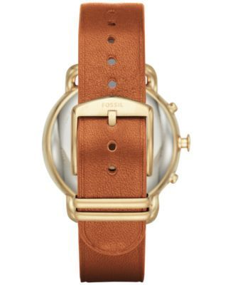 Fossil Q Women's Tailor Light Brown Leather Strap Hybrid Smart Watch, 40MM FTW1127 - Brown