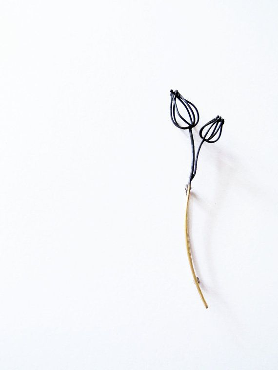 Two Wireframed Physalis brooch abstracted minimalistic by eried