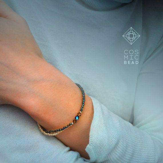 See Sand double bracelet wiyh Swarovski crystals от MyCosmicBead #cosmicbead