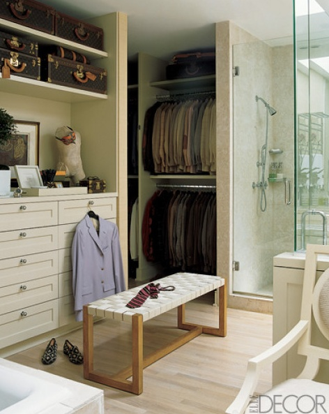 Neat idea for Master bath and closet combo.... if there is good ventilation. Wouldn't want to put on damp clothing