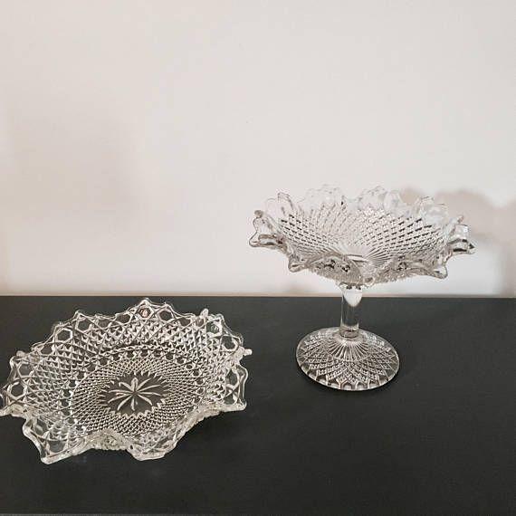 Vintage pressed glass serving bowls