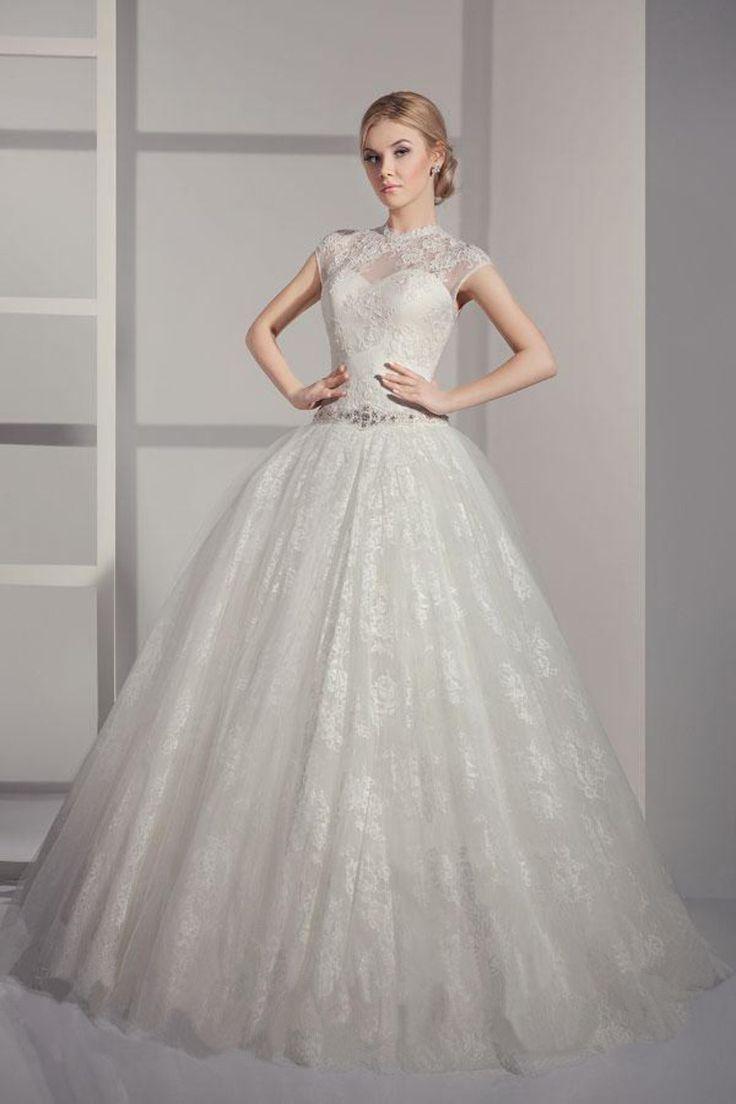 2014 High Neck Wedding Dress A Line Lace Beaded Chapel Train Lace Up USD 269.99 EPPY5SP8ST – ElleProm.com