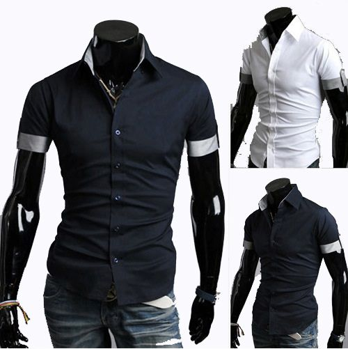 Men'S Collision Color  Slim Fit Short Sleeve Shirt  Casual Solid Man Spring 2014 Casual Men Camisas Slim Fit Roupas Masculina  $22.48 - 27.48
