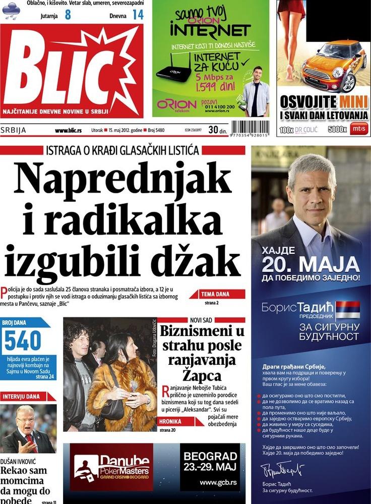 """Naslovna strana """"Blica"""" za 15. maj 2012. Data, Print, Majors"""