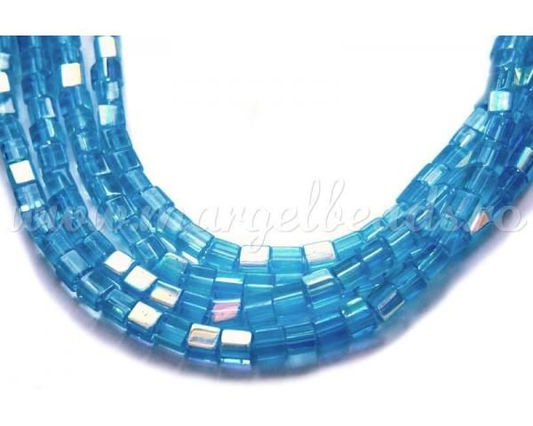 Blue Glass Cubes 4x4mm - www.margelbeads.com