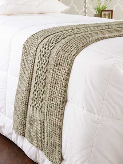 Diamonds & Cables Bed Runner... Wonder if I could figure out how to do it in crochet.....