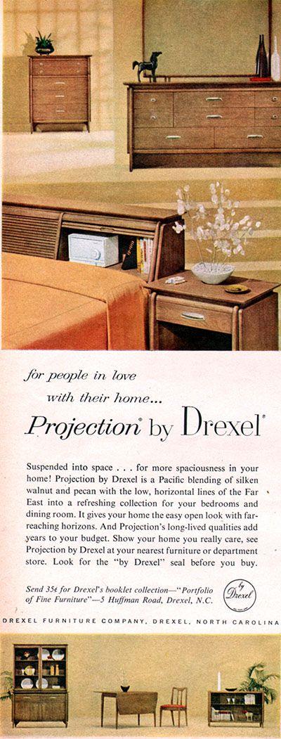 Drexel Projection Furniture JOHN VAN KOERT Bedroom MID CENTURY MODERN 1958  Ad. 26 best Mid Century Modern Drexel images on Pinterest   Mid