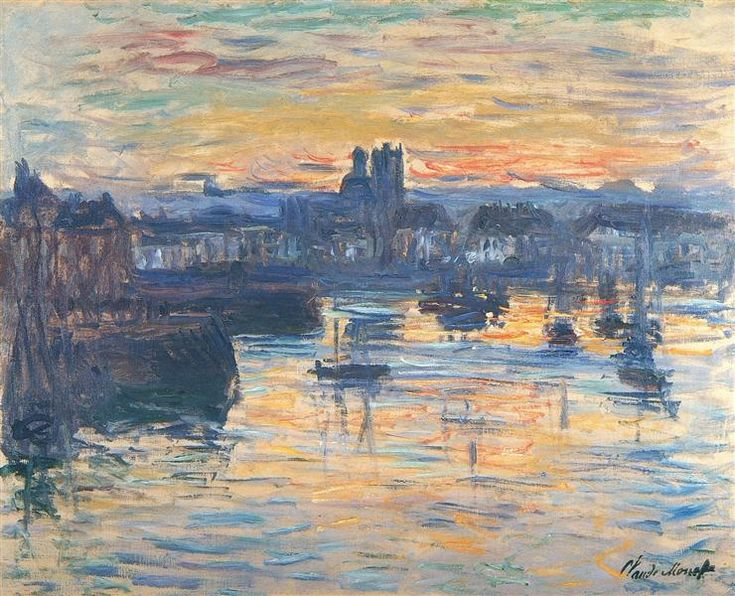 """Port of Dieppe, Evening"" ・ by Claude Monet ・ Completion Date: 1882 ・ Style…"