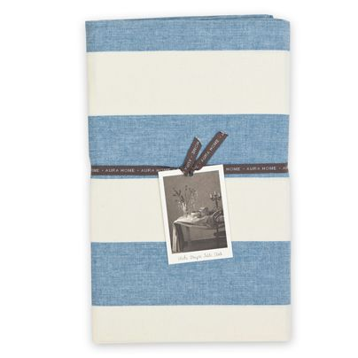 135x180cm Wide Stripe Table Cloth Country Blue