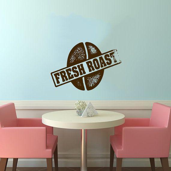 "Coffee Bean Stamp Logo Sign ""Fresh Roast"" Wall Vinyl Decal Murals Design Interior Modern Cafe Dining Room Kitchen Shop Decor Sticker SV4675"