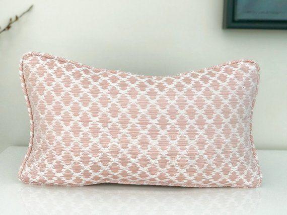 Scalamandre Samarinda Ikat Blush Lumbar Decorative Pillow Pink Designer Home Decor Throw P