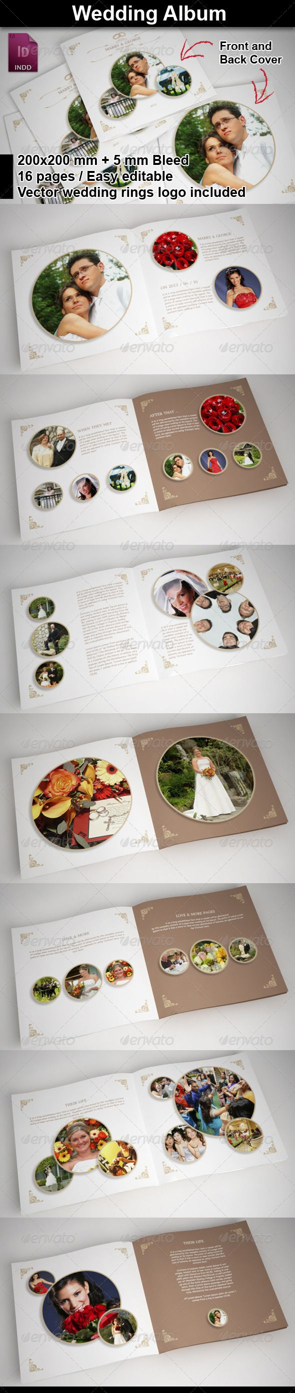 Wedding Al With Rounded Frames Indesign Brochure Templatesprint